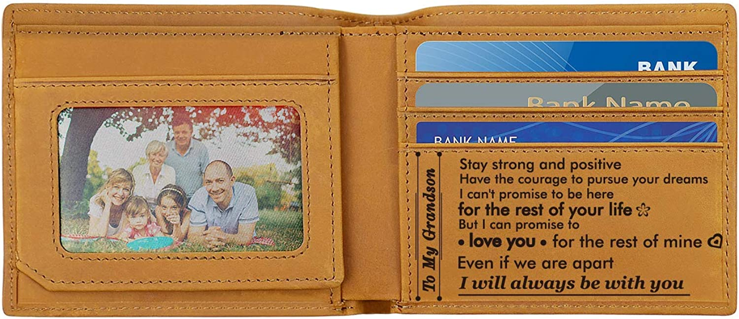 Engraved Wallets for Men, Personalized Wallet Gifts for Grandson Dad Son…