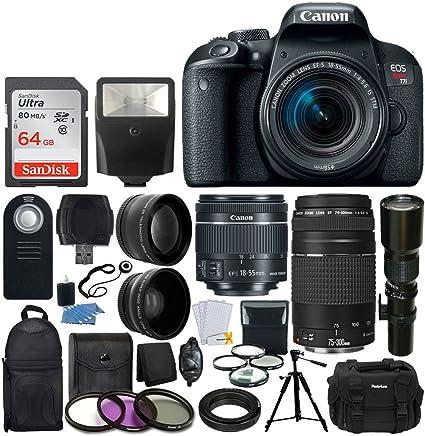 Canon EOS Rebel T7i Cámara DSLR + Canon EF-S 0.709-2.165in IS STM Lente + Canon EF 2.953-11.811in III Lente + Gran Angular & Telephoto Lente + Telephoto 19.685in f/8.0 (Long) + Tarjeta 64GB + Flash Esclavo + Valorado Bundle