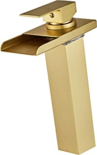 Wovier Brushed Gold LED Water Flow Color Changing Waterfall Bathroom Sink Faucet,Single Handle Single Hole Vessel Lavatory Faucet,Basin Mixer Tap Tall Body