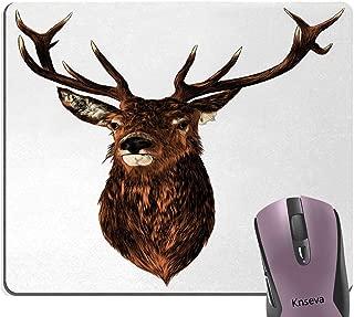 Knseva Vintage Deer Hunting Mouse Pad, Stuffed Animal Brown Deer Head Rustic Graphic Pattern Mouse Pads Cute Mat with Designs