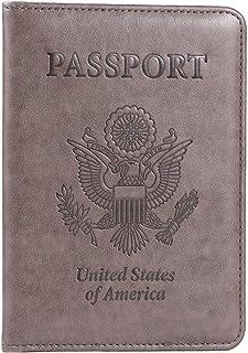 Passport Holder, RFID Blocking Leather Passport Holder Cover Case Travel Wallet(Coffee Grey)