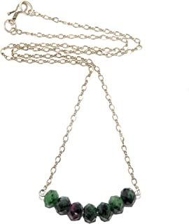 SatinCrystals Ruby Zoisite Necklace Boutique Genuine Faceted Green Red Black Gemstone Fancy Cut Chain B01