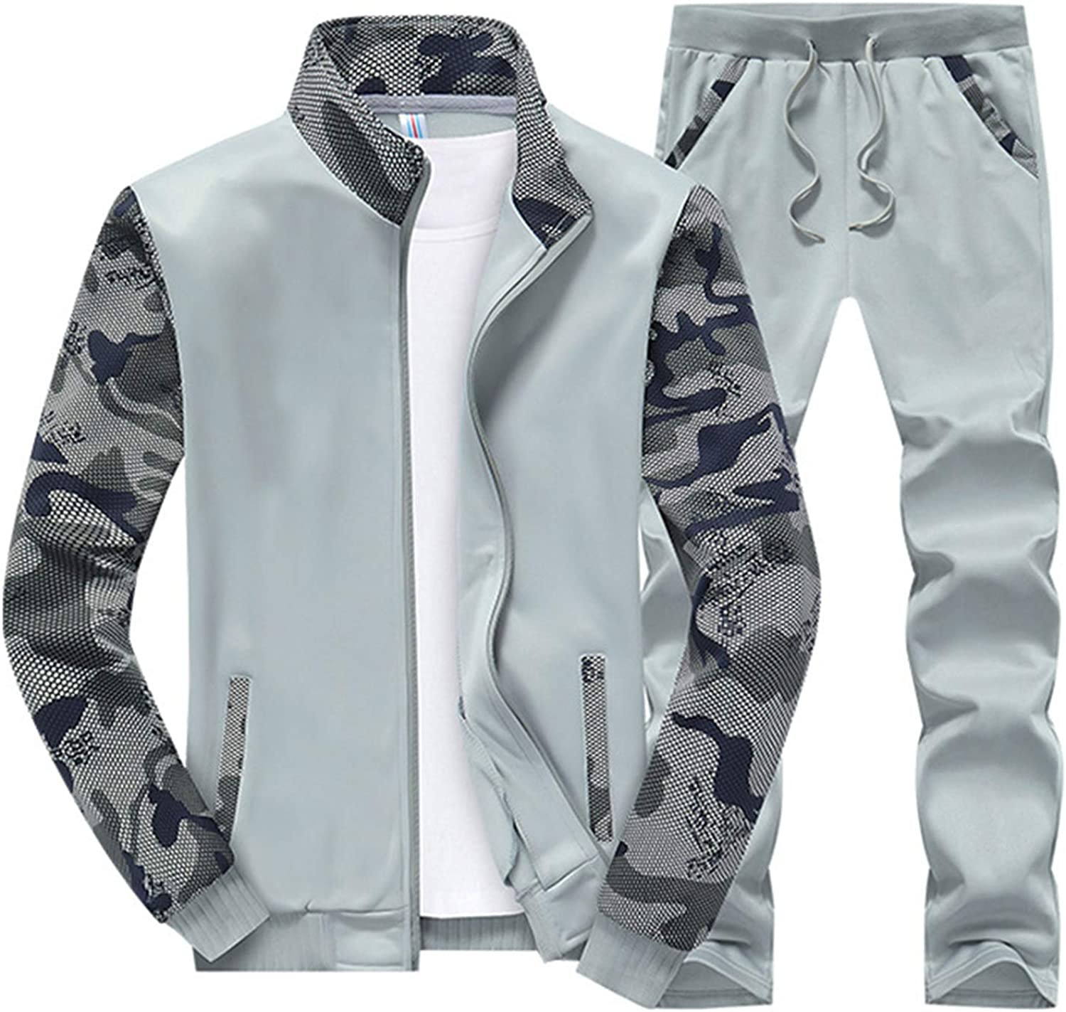 Mens Tracksuit Set 2 Piece Casual Long Sleeve Full Zip Running Jogging Athletic Sweat Suits