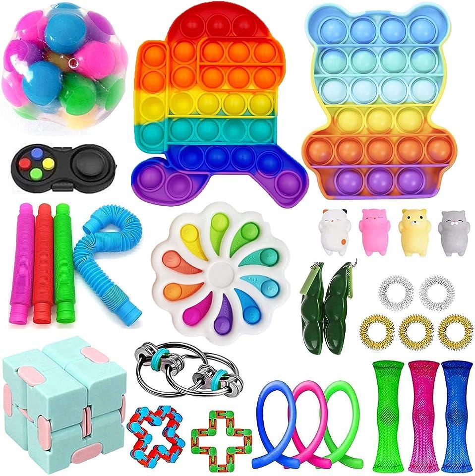 30Pc Tik Tok Fidget Spielzeug Packung Sinnes Fidget Spielzeug Push-Pop-Blase Spielzeug-Druck-Anxiety Relief Spielzeug Set für ADD OCD autistische Kinder Erwachsene Angst Autismus