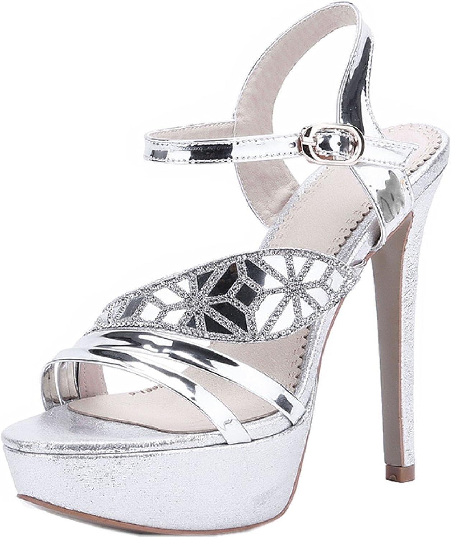 Rongzhi Womens Rhinestone Platform High Heels Stilettos Ankle Strap Heeled Sandals Party Dress Open Toe gold