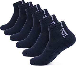 TSLA 6 Pairs Men and Women Athletic Crew Socks, Cotton Blend Cushion Mid Calf Socks, Sport Performance Running Socks