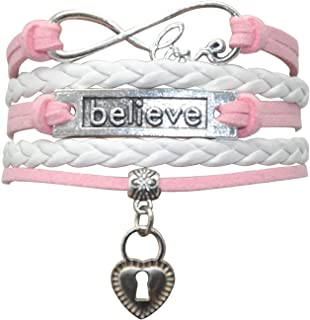HHHBeauty Dream Believe Bracelet - Dream Believe Jewelry Gifts Leather Infinity Love Heart Braver I Believe تحقيق أساور لل...