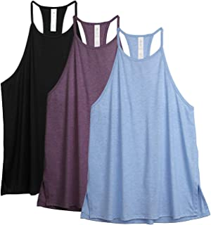icyzone Workout Tank Tops for Women - High Neck Running Muscle Tank Exercise Gym Yoga Halter Tops Athletic Shirts(Pack of 3)