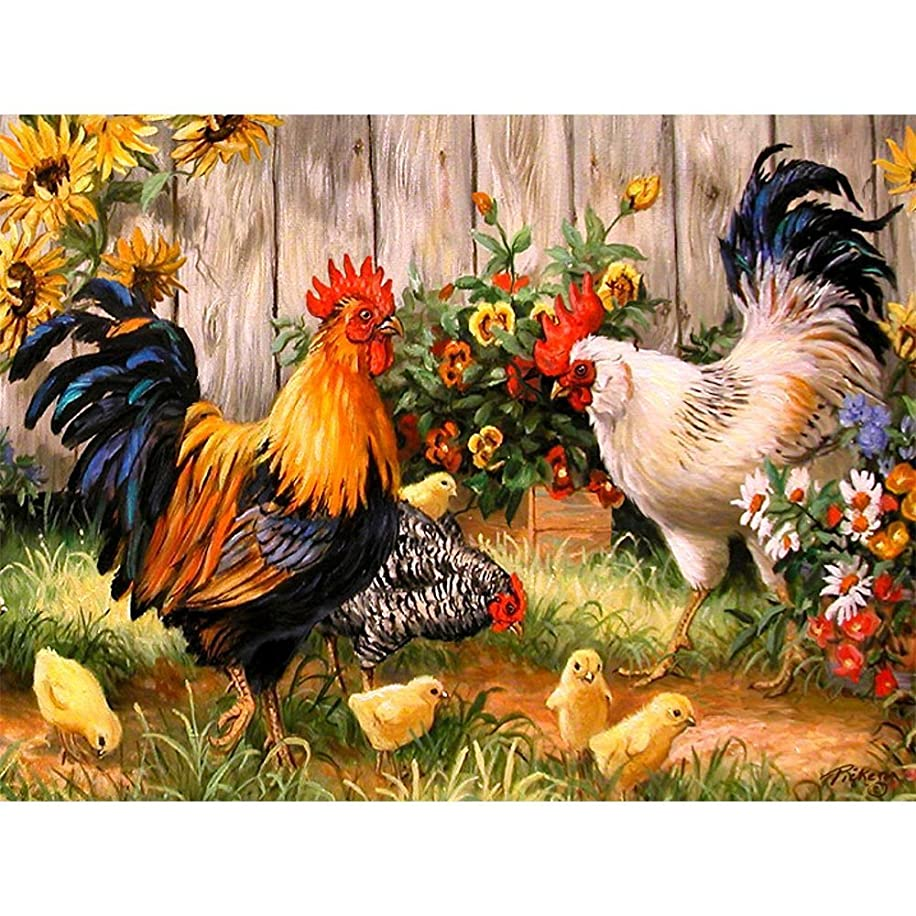 Petift DIY 5D Diamond Painting by Number Kit for Adult,Crystal Rhinestone Full Drill,Drill Canvas Bead,Rooster Hen Chicks,Cross Stitch Stickers Arts Craft Kits for Home Wall Decoration(14x18inch)