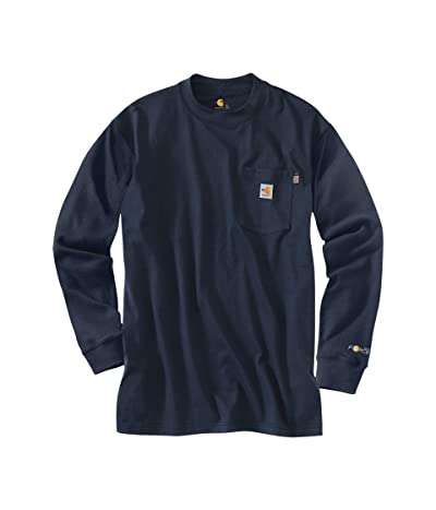 Carhartt Big Tall Flame-Resistant Force Cotton Long Sleeve T-Shirt (Dark Navy) Men