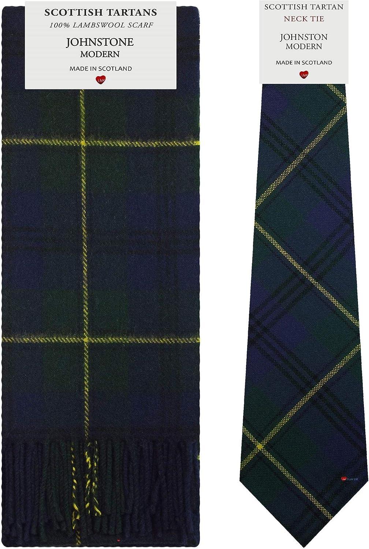 Johnstone Modern Tartan Plaid 100% Lambswool Scarf & Tie Gift Set
