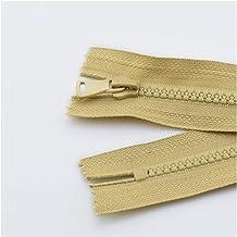Jinggege Hars Ritssluiting Close-end Auto Lock Kleurrijke Plastic Rits for kleding 2 stks 5# 15/20/25 cm (Color : Khaki, S...