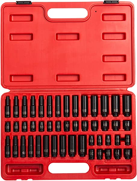 Sunex 1848 1 4 Inch Drive Master Impact Socket Set 48 Piece SAE Metric 3 16 Inch 9 16 Inch 4mm 15mm Standard Deep Cr Mo Alloy Steel Radius Corner Design Heavy Duty Storage Case
