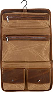 BAOSHA Real Leather Hanging Toiletry Bag Dopp Kit Travel Accessories Bag for toiletries (Kakhi)