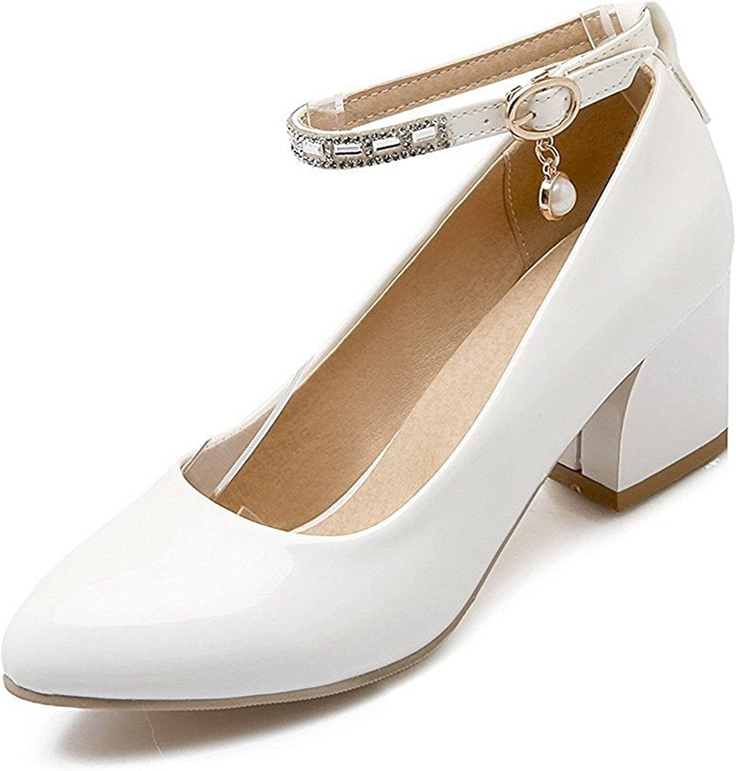 Tirahse Comfortable Women's Solid Patent Leather Low-Heels Buckle Pointed Closed Toe Pumps-shoes