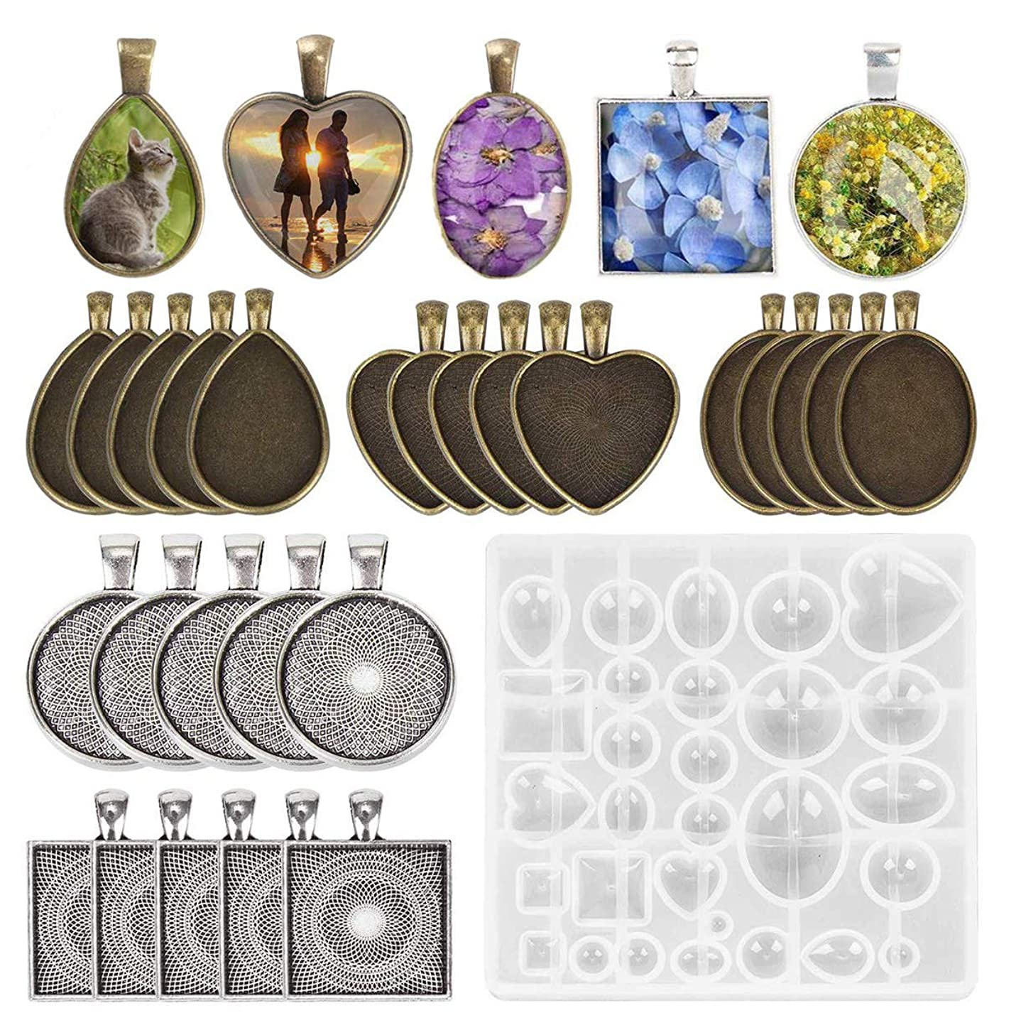 Fashionclubs 5 Styles Pendant Trays with 1pcs Silicone Resin Jewelry Casting Mold, 30pcs Bezel Trays Pendant Blanks Round Square Heart Teardrop Oval Vintage Pendant Bezel Trays for Photo Jewelry DIY