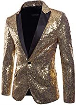 Mens Shiny Sequin Blazer One Button Lapel Suit Slim Jacket Coat for Nightclub Wedding Party