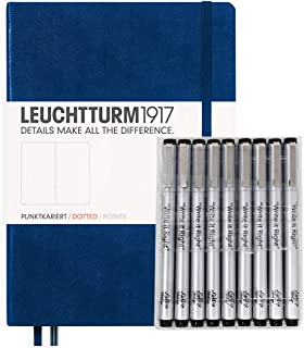 Leuchturm1917 Dotted Journal Medium A5 Bullet Notebook with 9 Pack Black Fineliner Fine Tip and  Brush Journaling Pens Set  (Dotted, Navy)