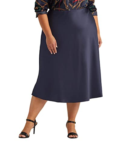 LAUREN Ralph Lauren Plus Size Satin Skirt (Lauren Navy) Women