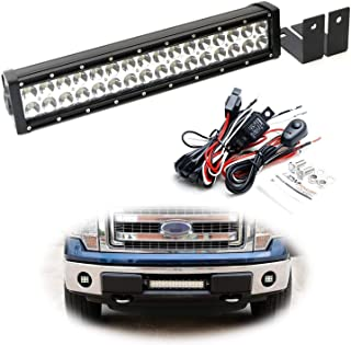 iJDMTOY Lower Grille Mount LED Light Bar Kit For 2009-14 Ford F-150 or Raptor, Includes (1) 96W High Power LED Lightbar, Lower Bumper Opening Mounting Brackets & On/Off Switch Wiring Kit