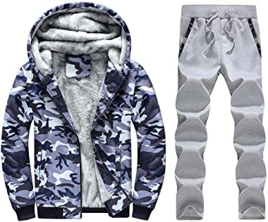 Men's Owl Tracksuit Set Mix Outerwear Spring Thermal Hoodie Sports Suit Pants Plush Lining Zipper Suit Casual Long Sleeve Hoo