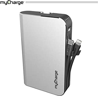 myCharge Portable Charger Power Bank - HubMax Universal 10050 mAh External Battery Pack | Wall Charger Foldable Plug | Built in Cables (iPhone Charger Lightning Cable and Android Samsung USB C)