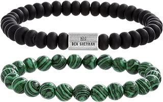 Black and Green Marbled Rondelle 2pc Beaded Adjustable Stretch Bracelet Set for Men in Stainless Steel (Black/Green)