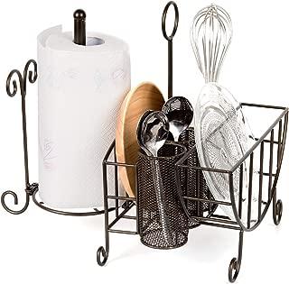 VANRA Metal Rack Flatware Caddy Buffet Caddy Organizer for Silverware, Plates, Utensils, Flatware, Napkins, Cutlery with Paper Towel Holder, Loop Handle