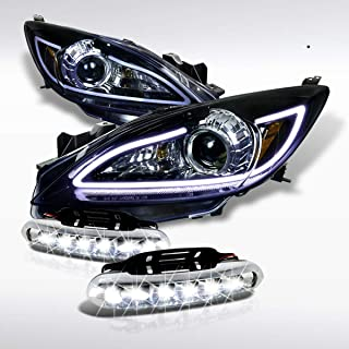 Autozensation For Mazda 3 Glossy Black Projector Headlights+LED Fog Bumper Lamp