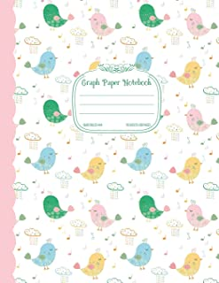 Graph Paper Notebook Quad Ruled 4x4: Cute Bird Design Composition Book with Graphing Paper for Science, Math, Art, Letter Size Grid Paper Journal - 4 squares per inch 8.5