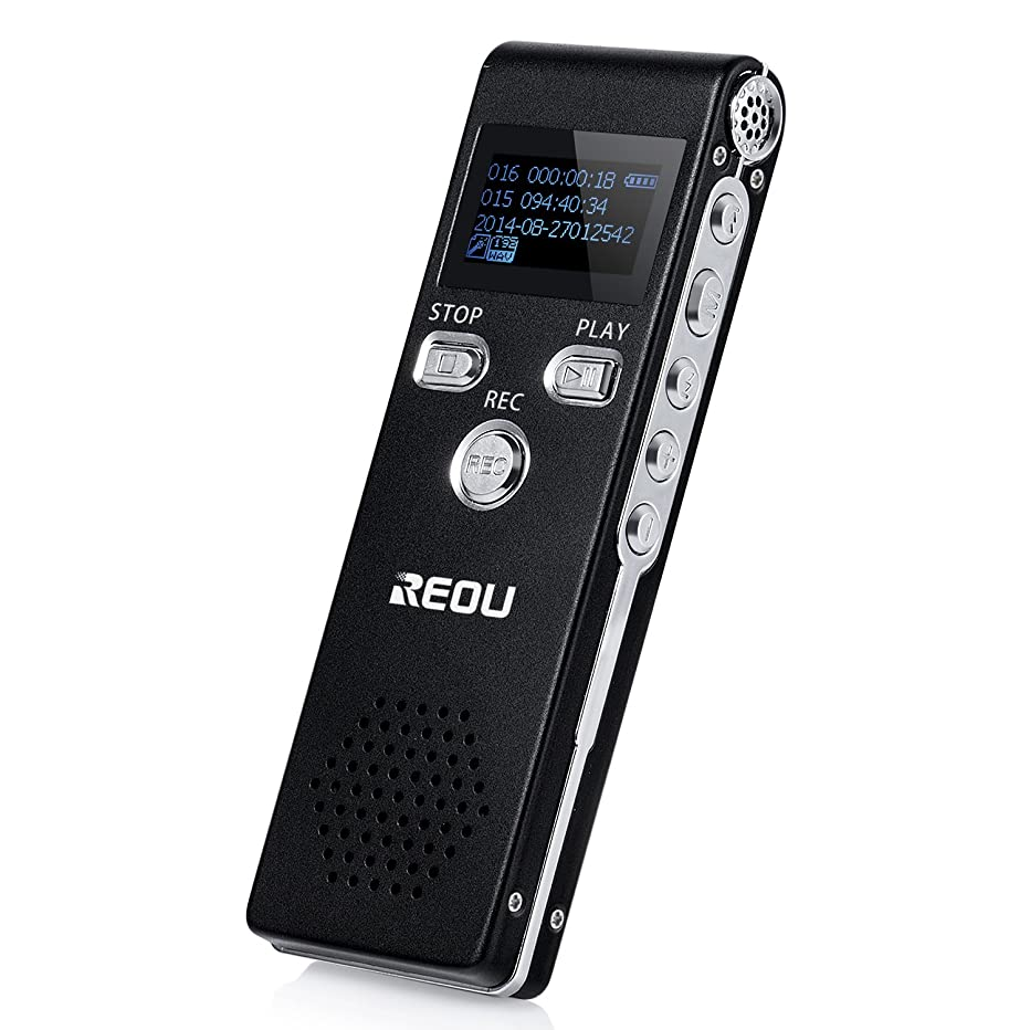 Digital Voice Recorder - REOU Audio Sound Recorder MP3 Player 320Kbps Dictaphone, 4GB Double Microphone, Voice Activated Recorder for Lecture, Meeting, Spy - Auto Saving Recorder