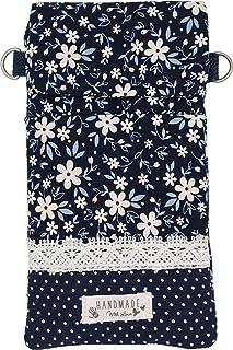 Goldline Smartphone- und Handy Tasche, Umhängetasche, Crossbag, Patchwork blau Blumen