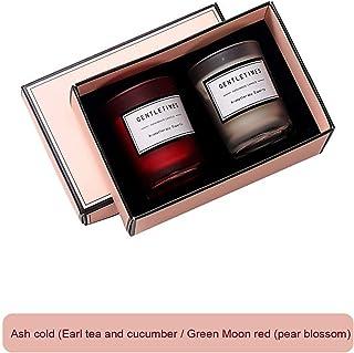 Set mit 2 Aromatherapie-Kerzen, geeignet für Verliebte, romantische Geschenke zum Valentinstag Kaltruß Tee Earl Grey und Gurke  Cuiyuehong Birnblume