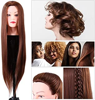 Hair Mannequin Head Cosmetology Doll Head Synthetic Fiber Styling Dye Cutting Manikin for Hairdresser Practice Training Brown & 24inch Long Hair