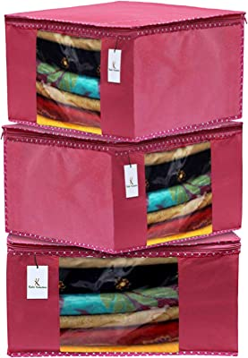 Kuber Industries 3 Pieces Non Woven Fabric Saree Cover/Clothes Organiser for Wardrobe Set with Transparent Window, Extra Large (Pink)-KUBMART2762
