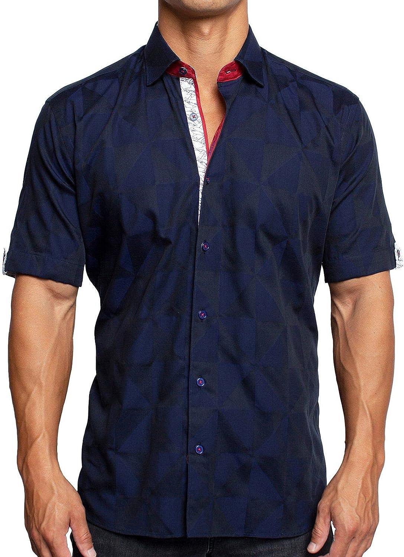 Maceoo Mens Designer Dress Shirt SS - Stylish & Trendy - Galileo Triangles Blue - Shaped Fit