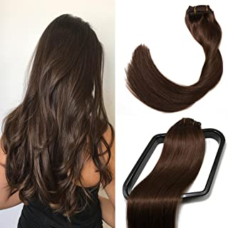 Clip in Hair Extensions 70G Dark Brown 100% Remy Human Hair Extensions 7A Soft Silky Straight 7pcs 16clips for Women(15 Inch #2)