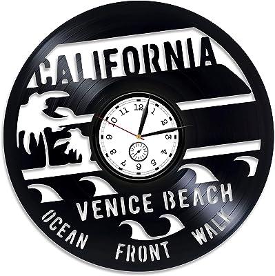 Kovides California Wall Clock Venice Beach Vinyl Clock Los Angeles Xmas Gift USA Vinyl Wall Clock California Vinyl Record Wall Clock Venice Beach California USA Clock California Clock 12 inch