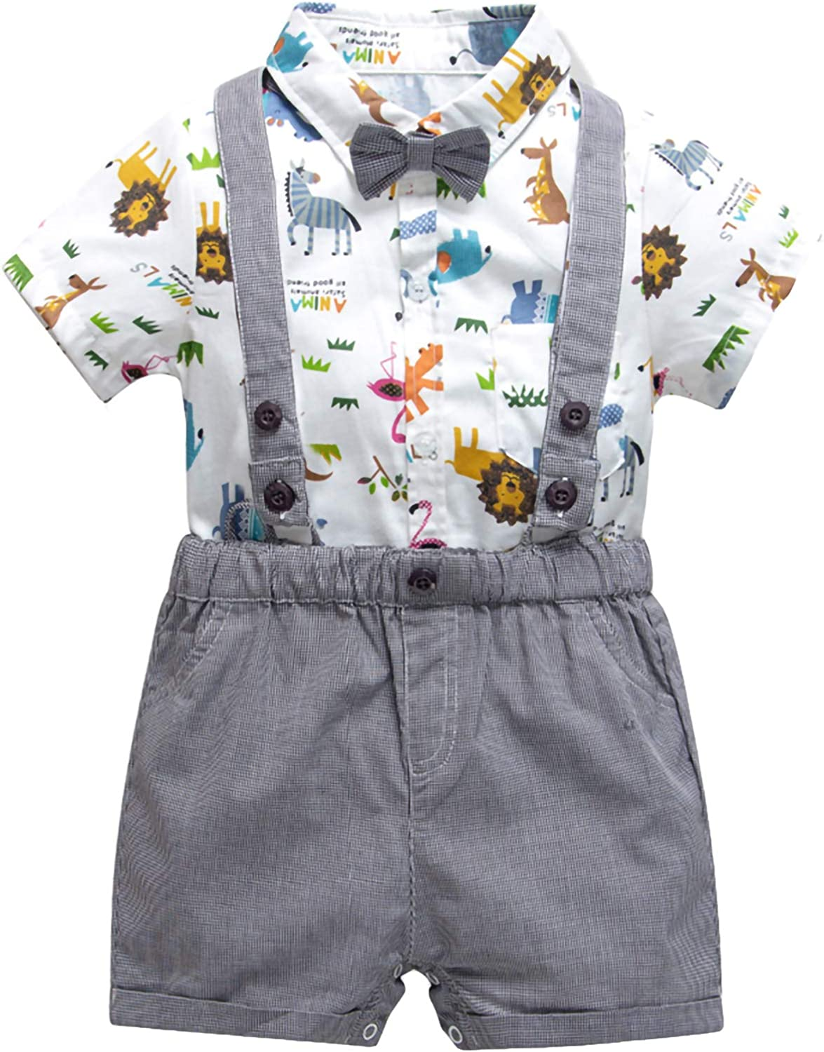 puseky Kids Toddler Boys OFFicial shop Cartoon Bow + Short safety Tie Shirt Suspender