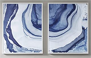 Madison Park Ethereal Wall Art-Multi Blue, Print In White Frame Modern Abstract Stretched 2 Piece Set Painting Living Room...