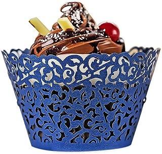 YOZATIA 60PCS Standard Navy Blue Cupcake Wrappers, Laser Cut Vine Lace Cupcake Decorative Liners for Party Supplies (Navy Blue)