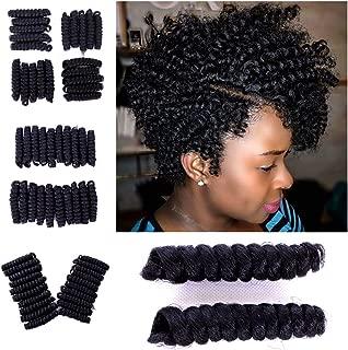 Coolbers Black Pre-Twist Crochet Braids Hair Extensions 10 Inch Jamaican Bounce Curls Kanekalon Toni Curl Crochet Wand Curl Braid Hair (10 Inch Toni Curl, 1B)