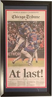 Chicago Cubs 2016 World Series Baseball Champions AT LAST Tribune Framed Newspaper BLACK FRAME ORIGINAL FRONT PAGE