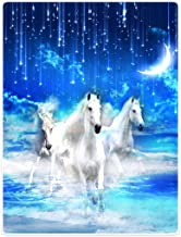 TSlook Blankets Soft Warm Sofa Bed Throw Blanket Beautiful Night Sky Moon and Stars White Horse 60