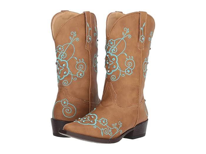 Roper Kids  Flower Sparkles (Toddler/Little Kid) (Tan Faux Leather Vamp and Shaft) Cowboy Boots