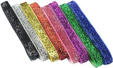 Baoblaze 8 Yards/Colors 3/8inch 10mm Glitter Velvet Ribbon for Handmade Headband Hair Clips Bow Wedding Party Decoration G...