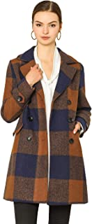 Allegra K Women's Notched Lapel Double Breasted Winter Plaids Coat
