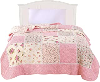ENCOFT Alicemall Pink Girls Quilts Beautiful Flower Print Quilt Throw Blanket, Country Pastoral Style Patchwork Quilt Bedding, Quilted Bedspreads, 59
