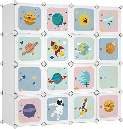 SONGMICS Armoire modulable, Placard de Rangement Portable, Organisateur vêtements Enfant, avec 16 Cubes, 4 Rails Susp...