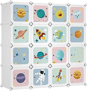 SONGMICS Armoire modulable, Placard de Rangement Portable, Organisateur vêtements Enfant, avec 16 Cubes, 4 Rails Suspendus...